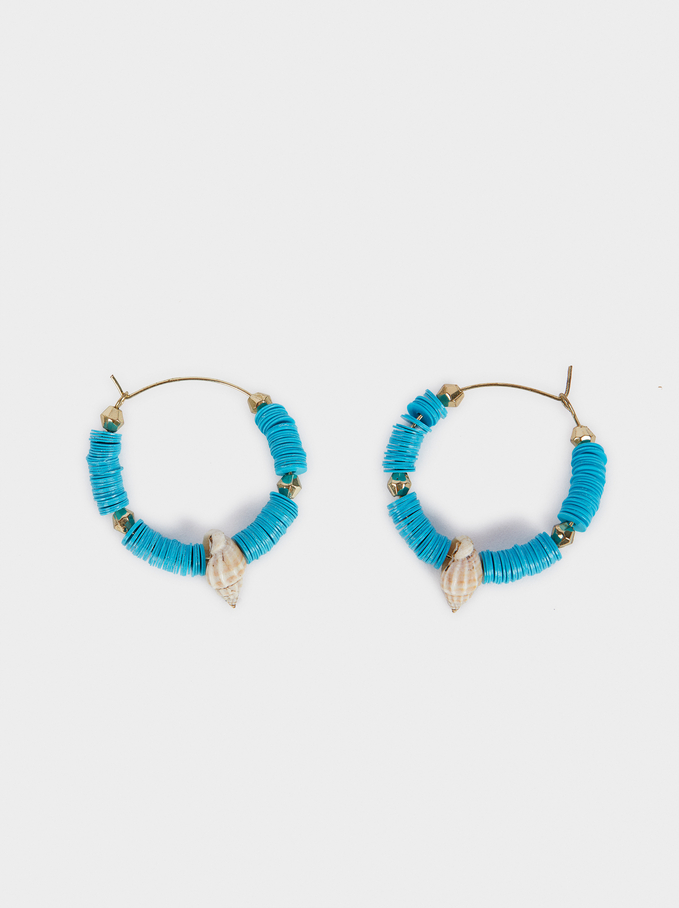Medium Hoop Earrings With Seashell, Multicolor, hi-res