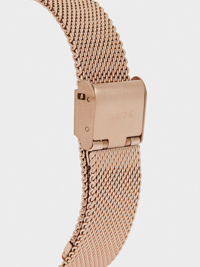 Watch With Metallic Mesh Strap And Heart, Orange, hi-res