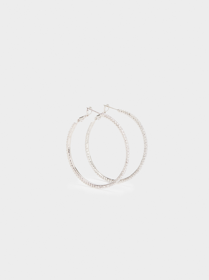 Large Hoop Earrings With Crystals, Silver, hi-res