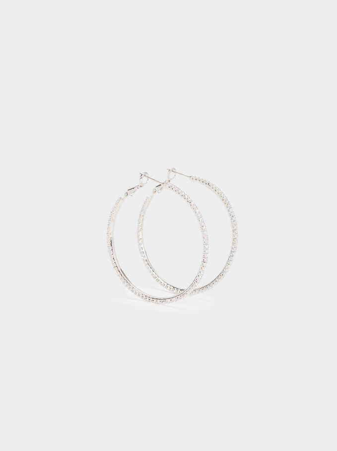 Large Hoop Earrings With Crystals, Silver, hi-res