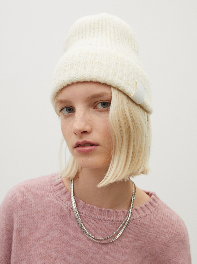 Knitted Turn-Up Hat, Ecru, hi-res