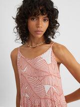 Striped Print Strappy Dress, Pink, hi-res