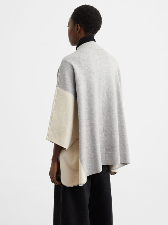 Two-Tone Poncho, Beige, hi-res