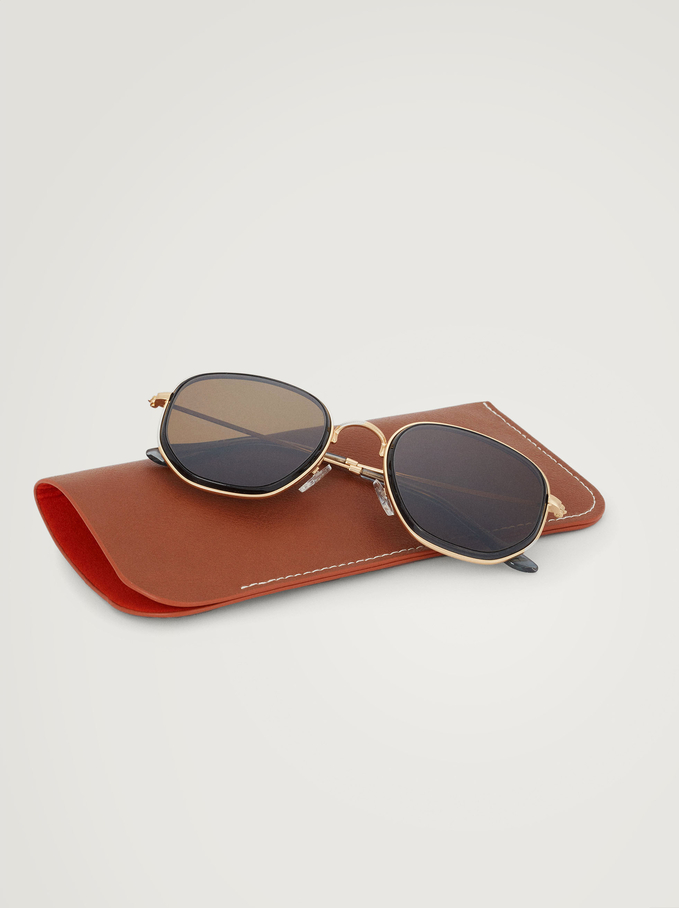 Hexagonal Metal Sunglasses, Grey, hi-res
