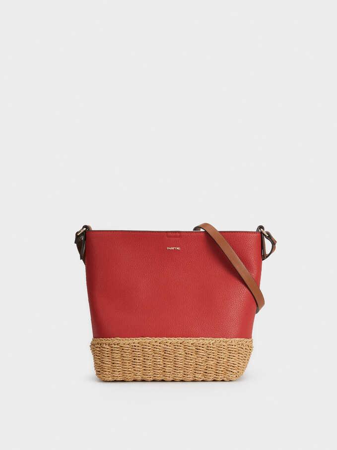 Bucket Bag With Raffia, Brick Red, hi-res