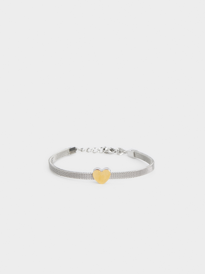 Steel Heart Bracelet, Multicolor, hi-res