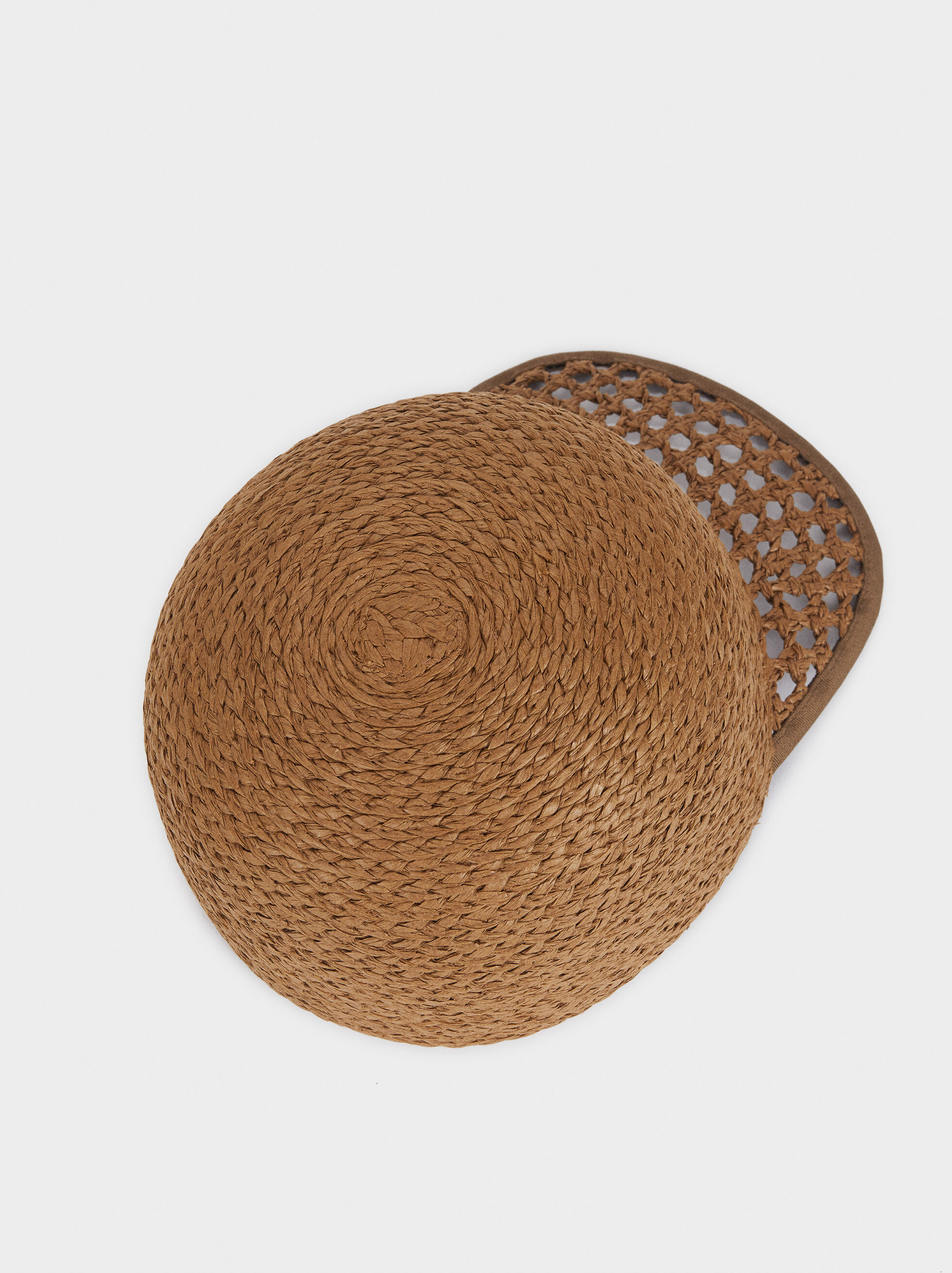 Straw Cap With Braided Peak, Khaki, hi-res