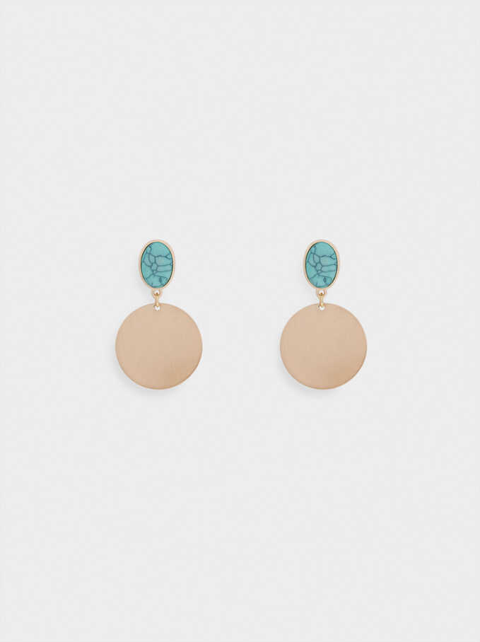 Earrings With  Stone, Blue, hi-res