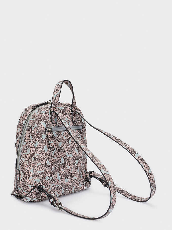 Printed Backpack With Exterior Pocket, Pink, hi-res