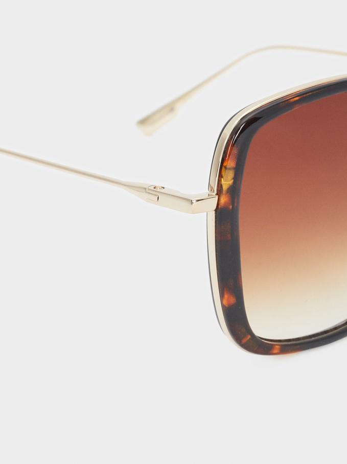 Square Frame Plastic Sunglasses, Brown, hi-res