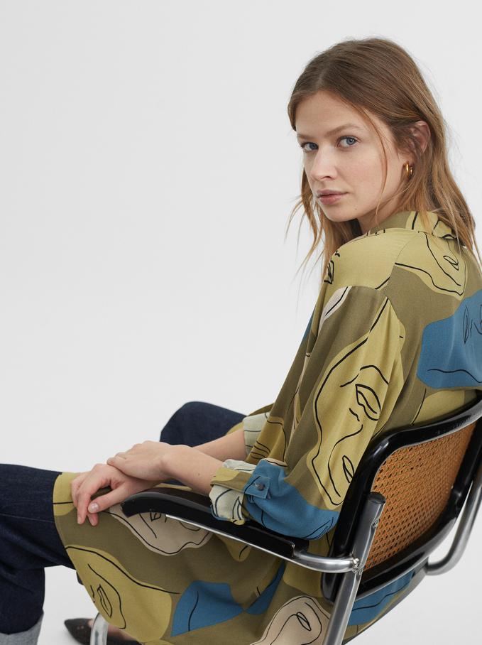 Printed Shirt Dress, Brown, hi-res