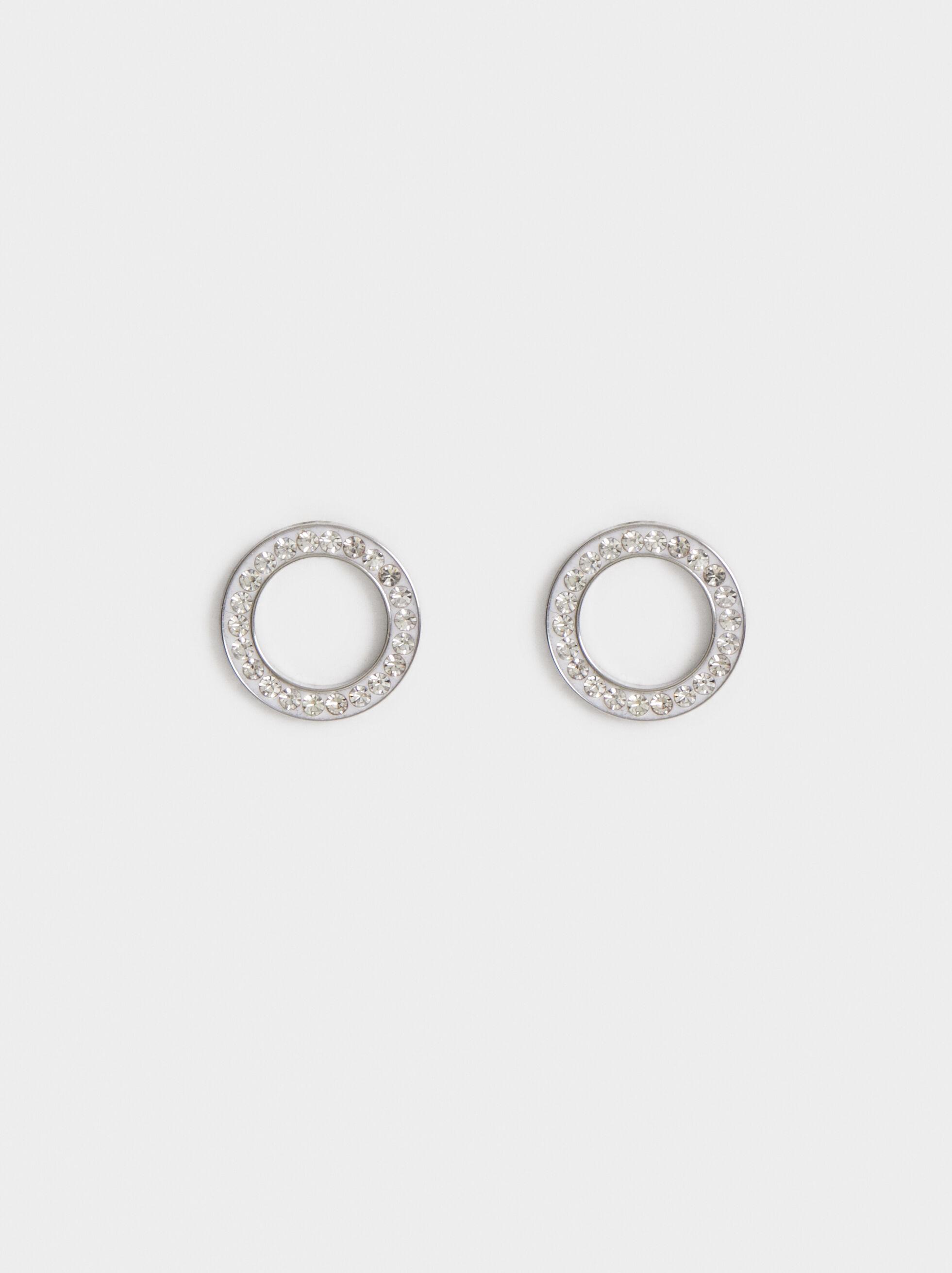 Steel Rhinestone Studs, Silver, hi-res