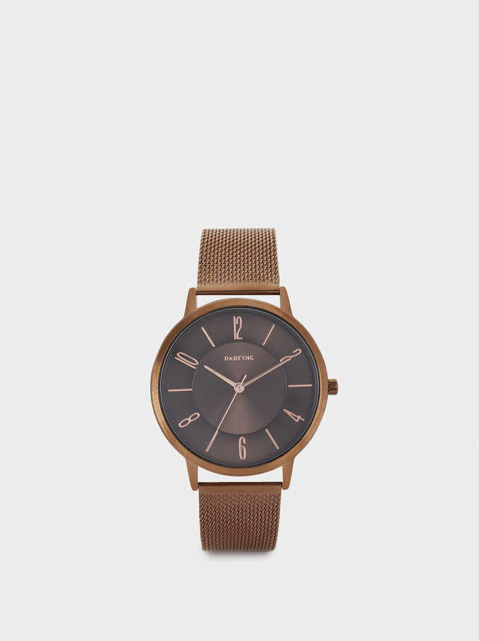 Watch With Metal Mesh Strap And Round Face, Brown, hi-res