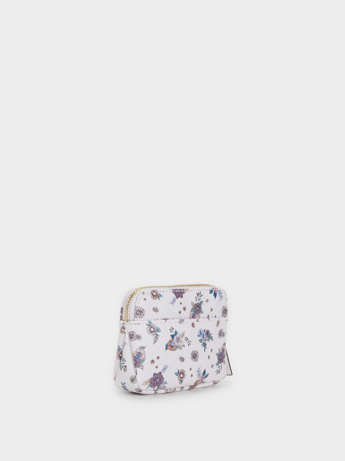 Rose Coin Purse With Floral Print, Pink, hi-res