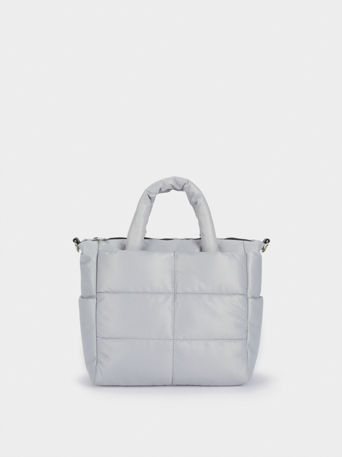 Nylon Quilted Tote Bag, Blue, hi-res