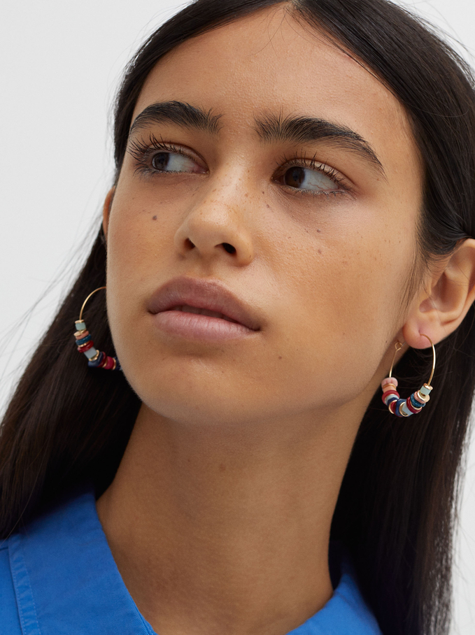 Créoles Perles Fantaisie, Multicolore, hi-res
