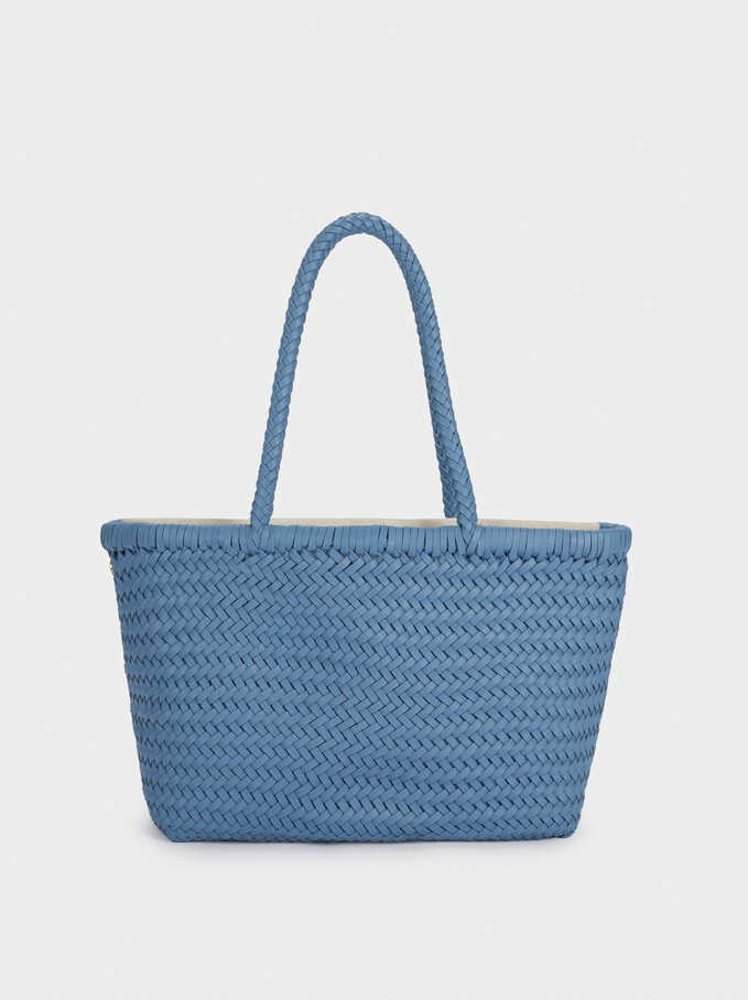 Hand Made Braided Tote Bag, Blue, hi-res