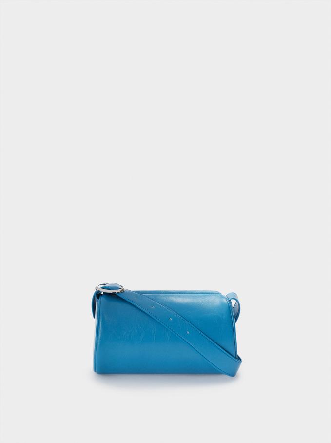 Party Shoulder Bag With Zip Fastening, Blue, hi-res