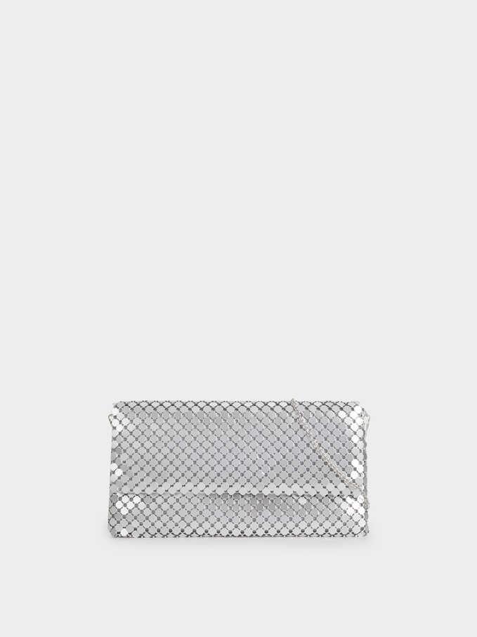 Big Mesh Hand Bag, Silver, hi-res