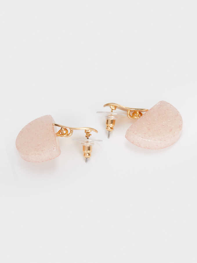Short Gold Resin Earrings , Pink, hi-res