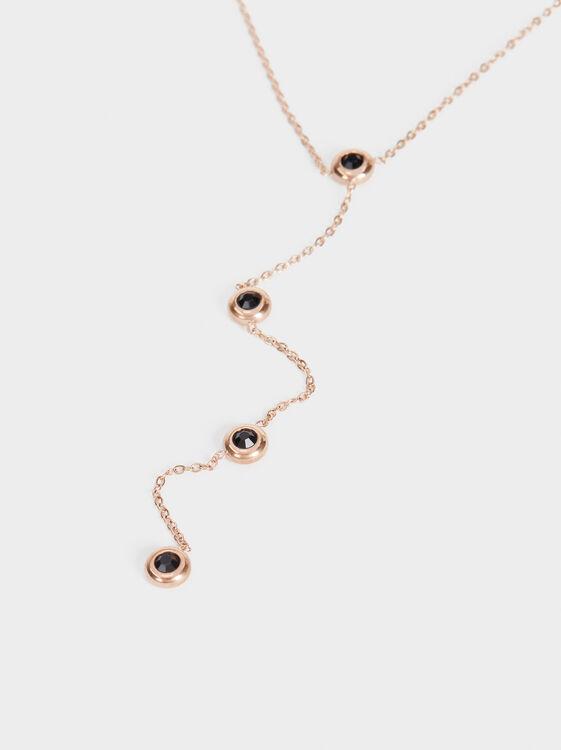 Short Steel Necklace With Rhinestones, Orange, hi-res