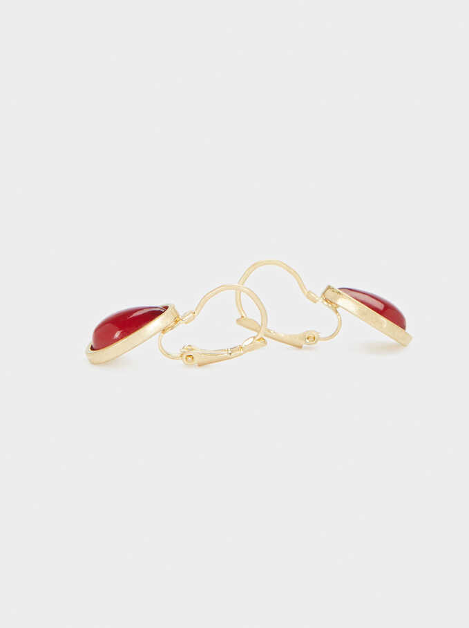 Short Dangling Earrings, Red, hi-res