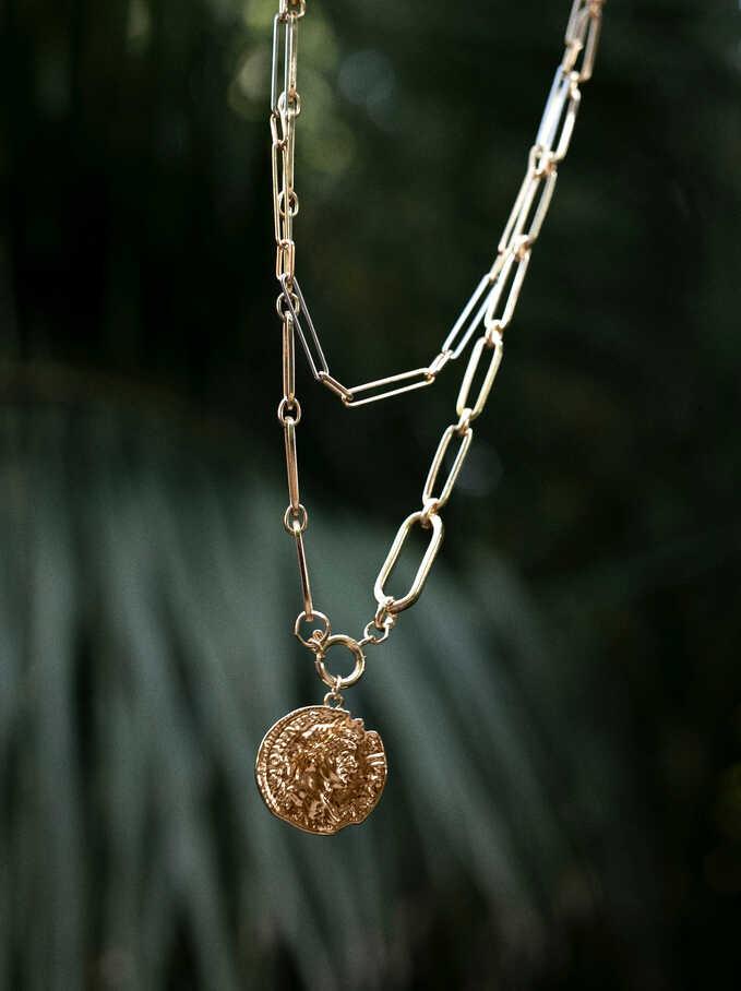 Medallion Necklace Set, Golden, hi-res
