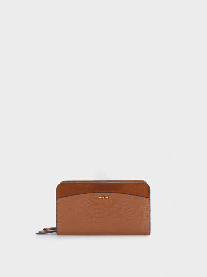 Contrast Purse With Zip Closure, Camel, hi-res