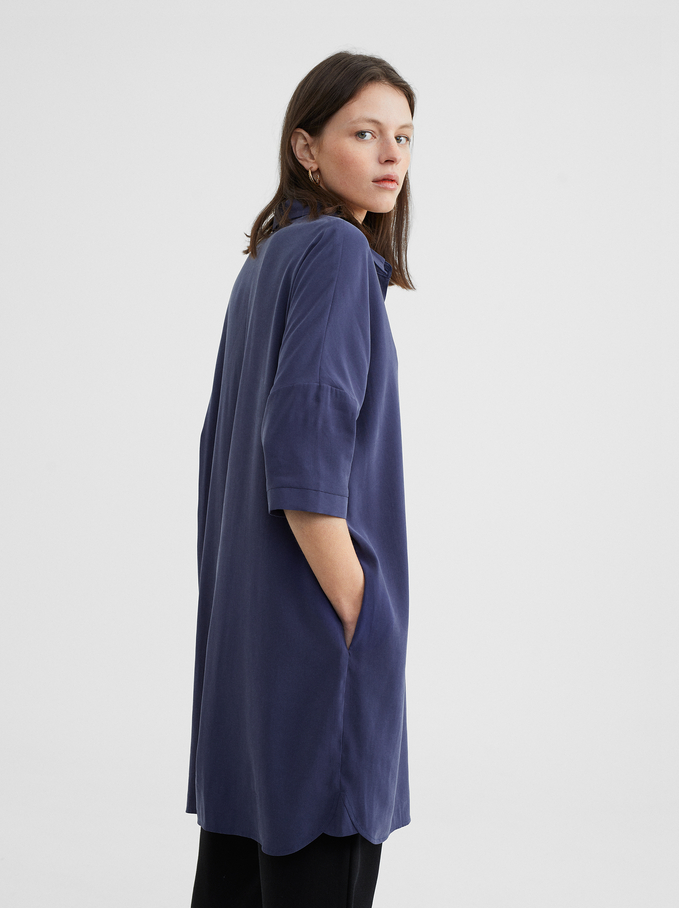 Shirt Dress With Pockets, Blue, hi-res