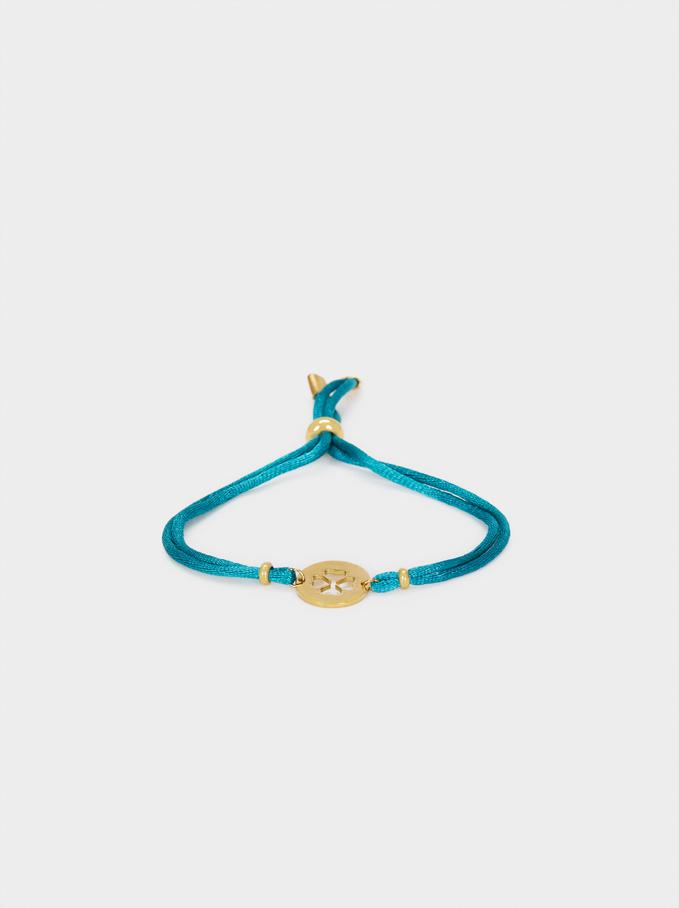 Adjustable Bracelet With Shamrock Detail, Grey, hi-res