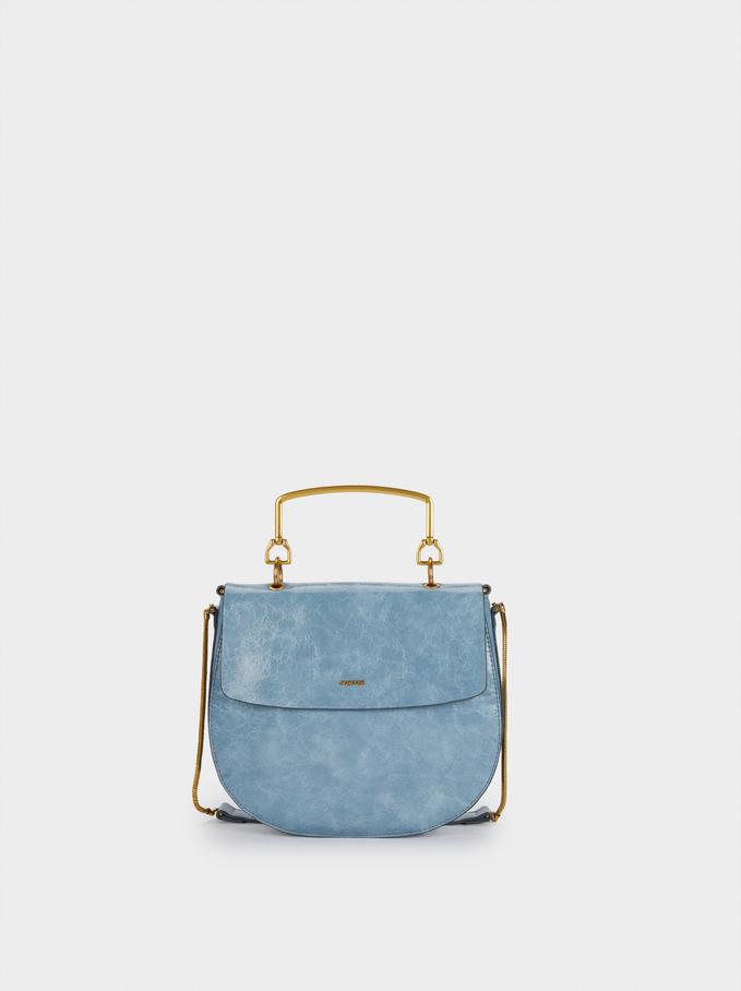 Crossbody Bag With Contrast Strap, Blue, hi-res