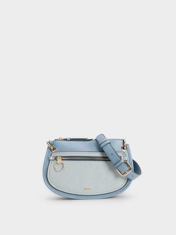 Grazel Crossbody Bag With Adjustable Strap, Blue, hi-res
