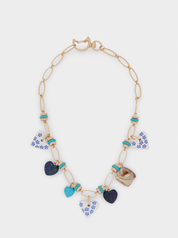 Short Chain Necklace With Hearts, Blue, hi-res