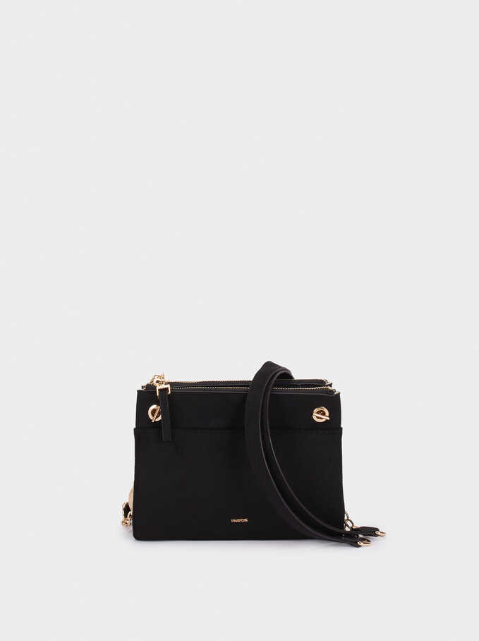 Fake Suede Crossbody Bag, Black, hi-res