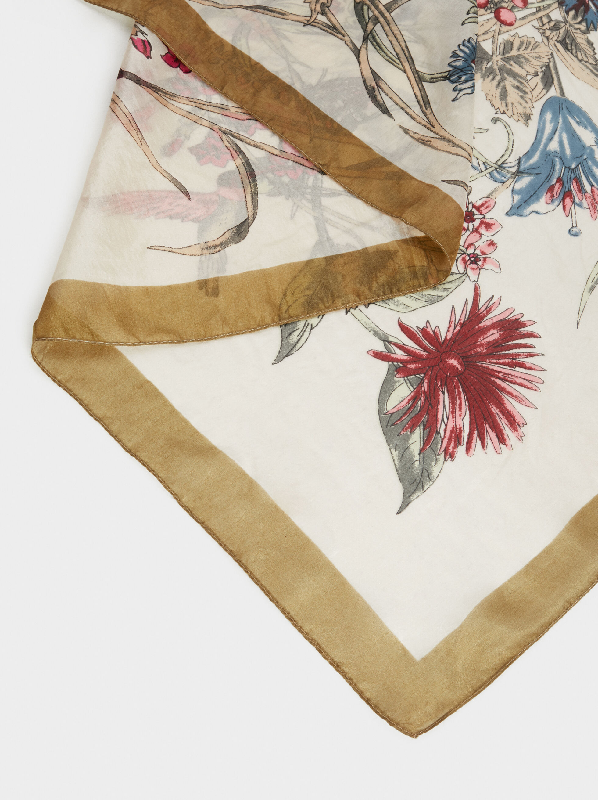 Floral Silk Square Scarf, Multicolor, hi-res