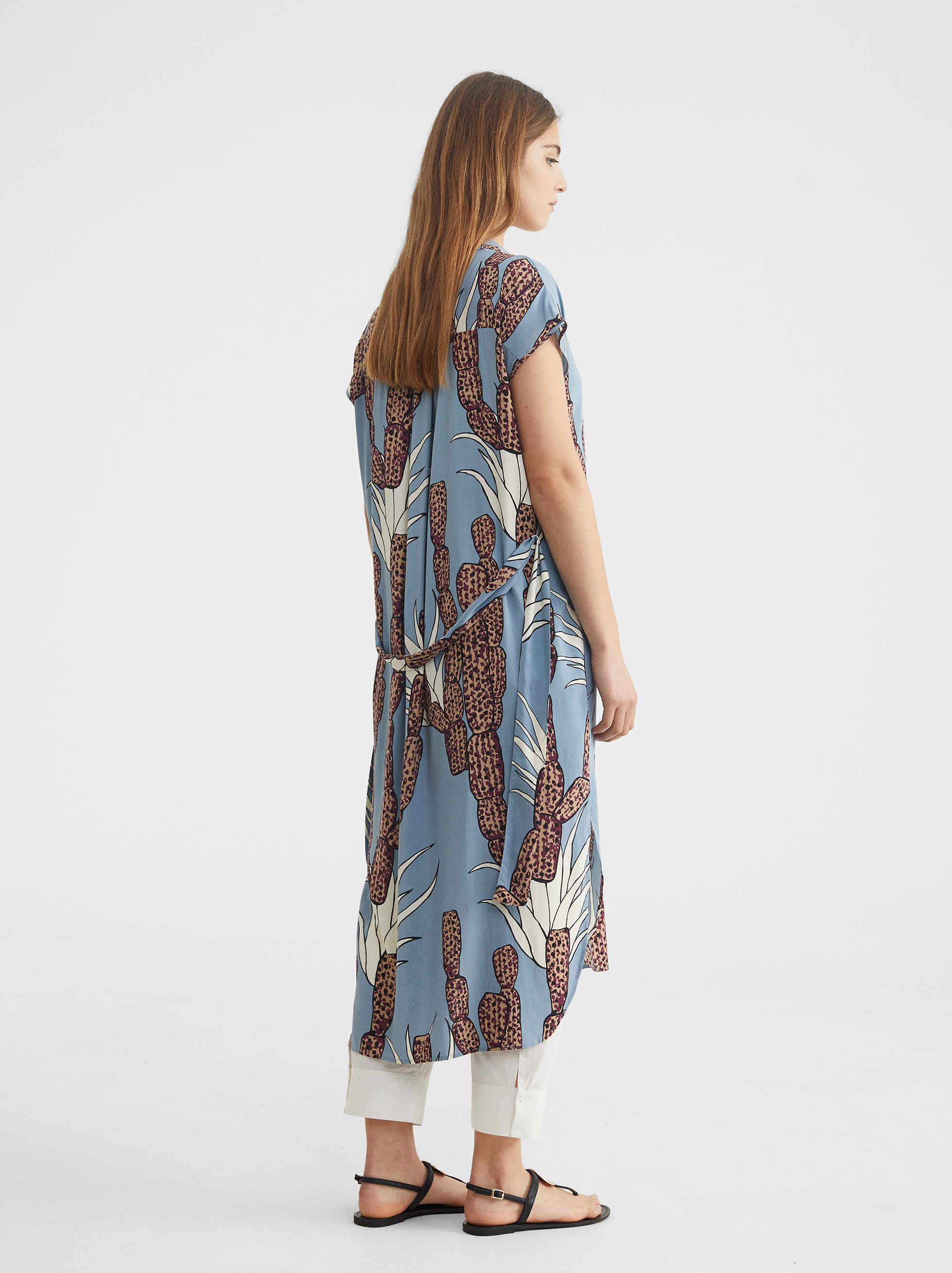 Printed Dress With Belt, Blue, hi-res