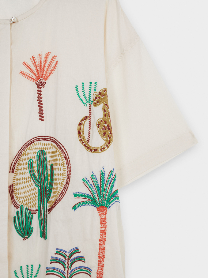 100% Cotton Dress With Embroidery, Ecru, hi-res
