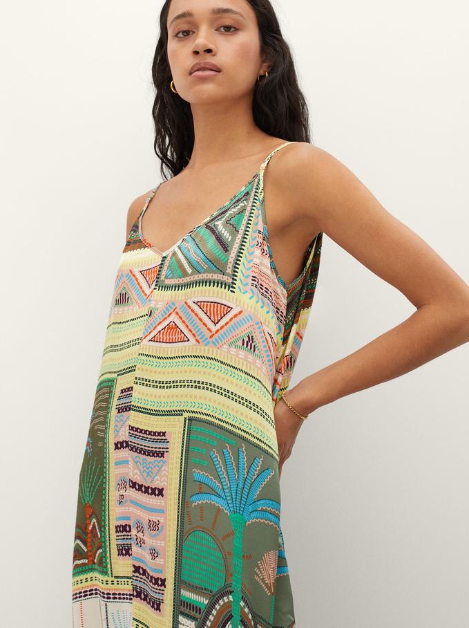 Satin Print Dress With Straps And V-Neck, Khaki, hi-res
