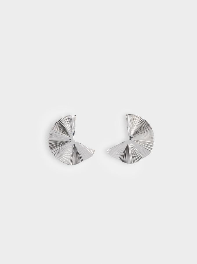 Silver Irregular Earrings, Silver, hi-res