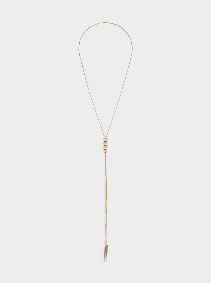 Long Beaded Necklace, Golden, hi-res