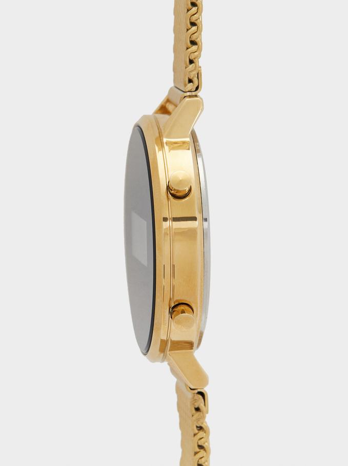 Montre Digitale Avec Bracelet En Maille Métallique, Doré, hi-res