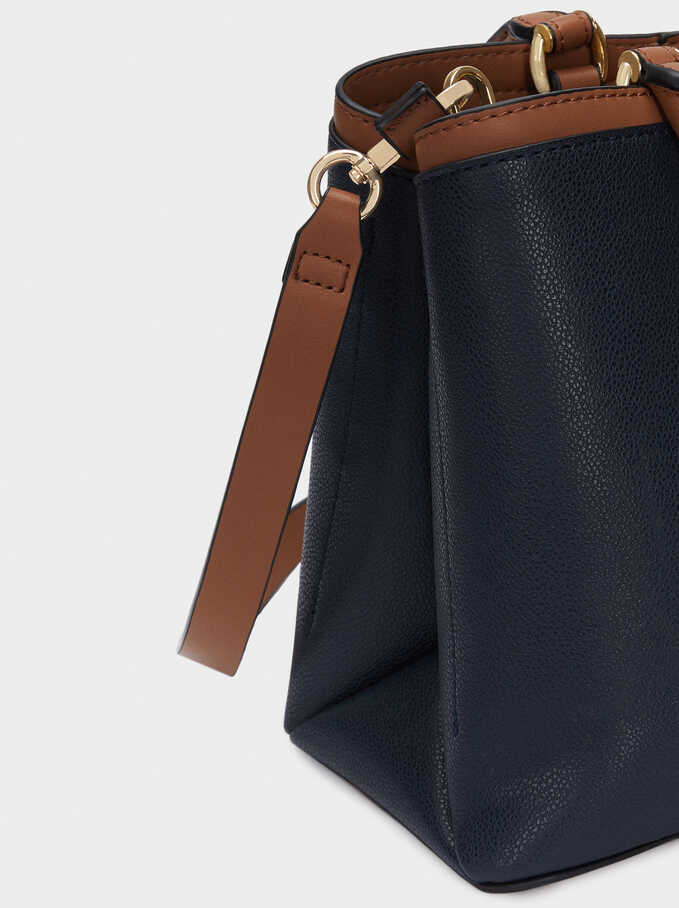 Tote Bag With Removable Shoulder Strap, Navy, hi-res