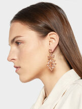 Sparkling Long Rhinestone Earrings, Orange, hi-res