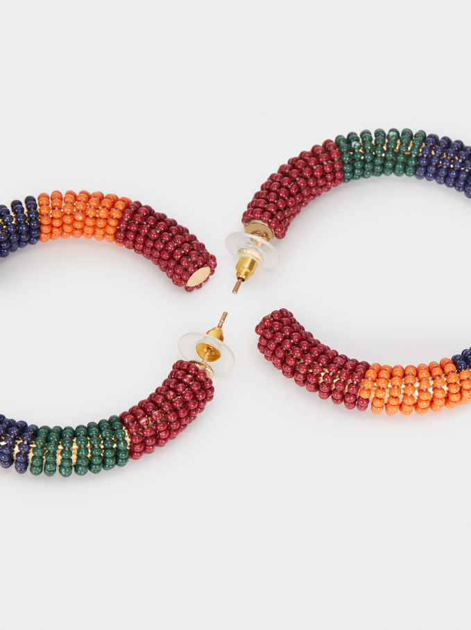 Long Gold Earrings With Beads, Multicolor, hi-res