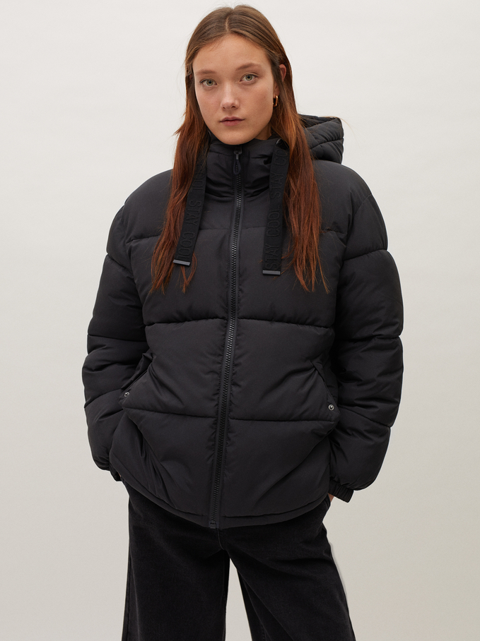 Quilted Coat With Hood, Black, hi-res