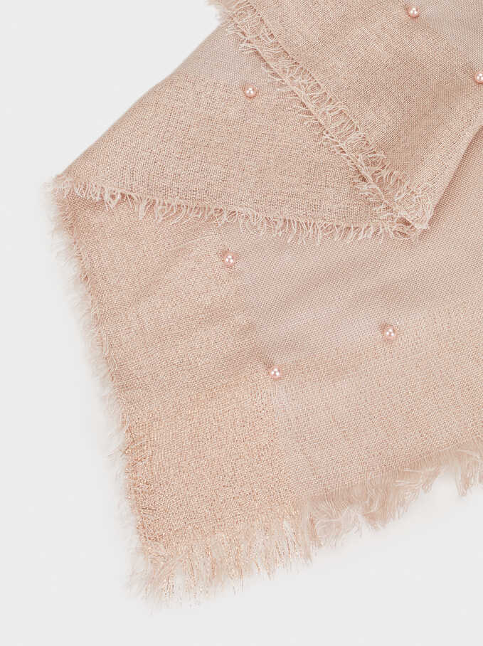 Scarf With Faux Pearls, Pink, hi-res