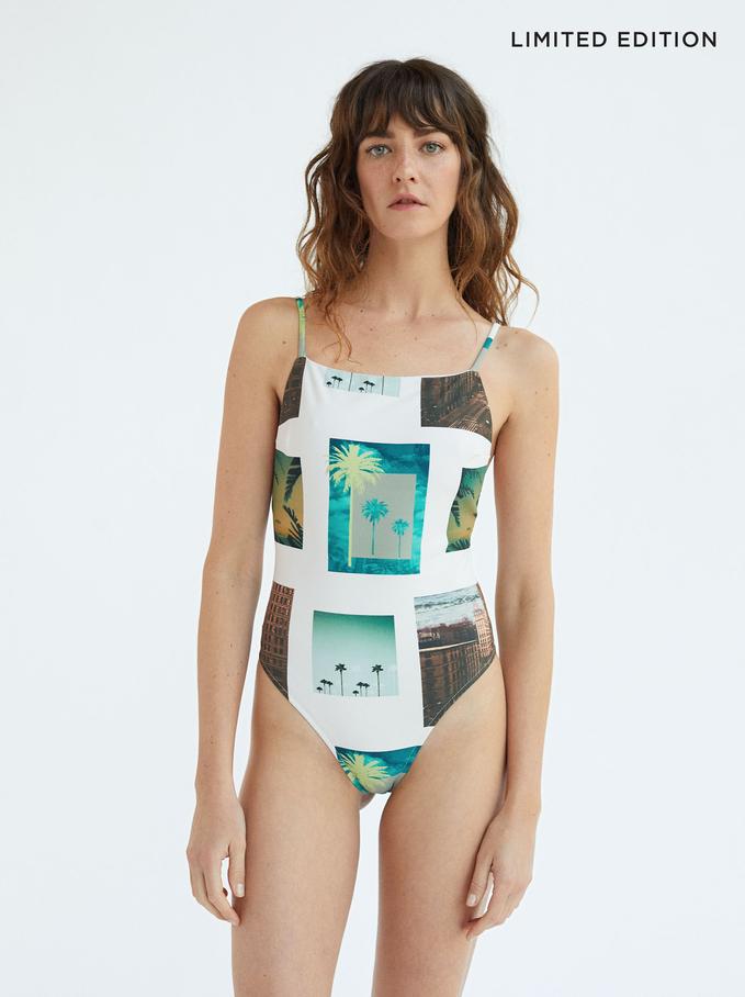 Palm Tree Print Bathing Suit, Ecru, hi-res
