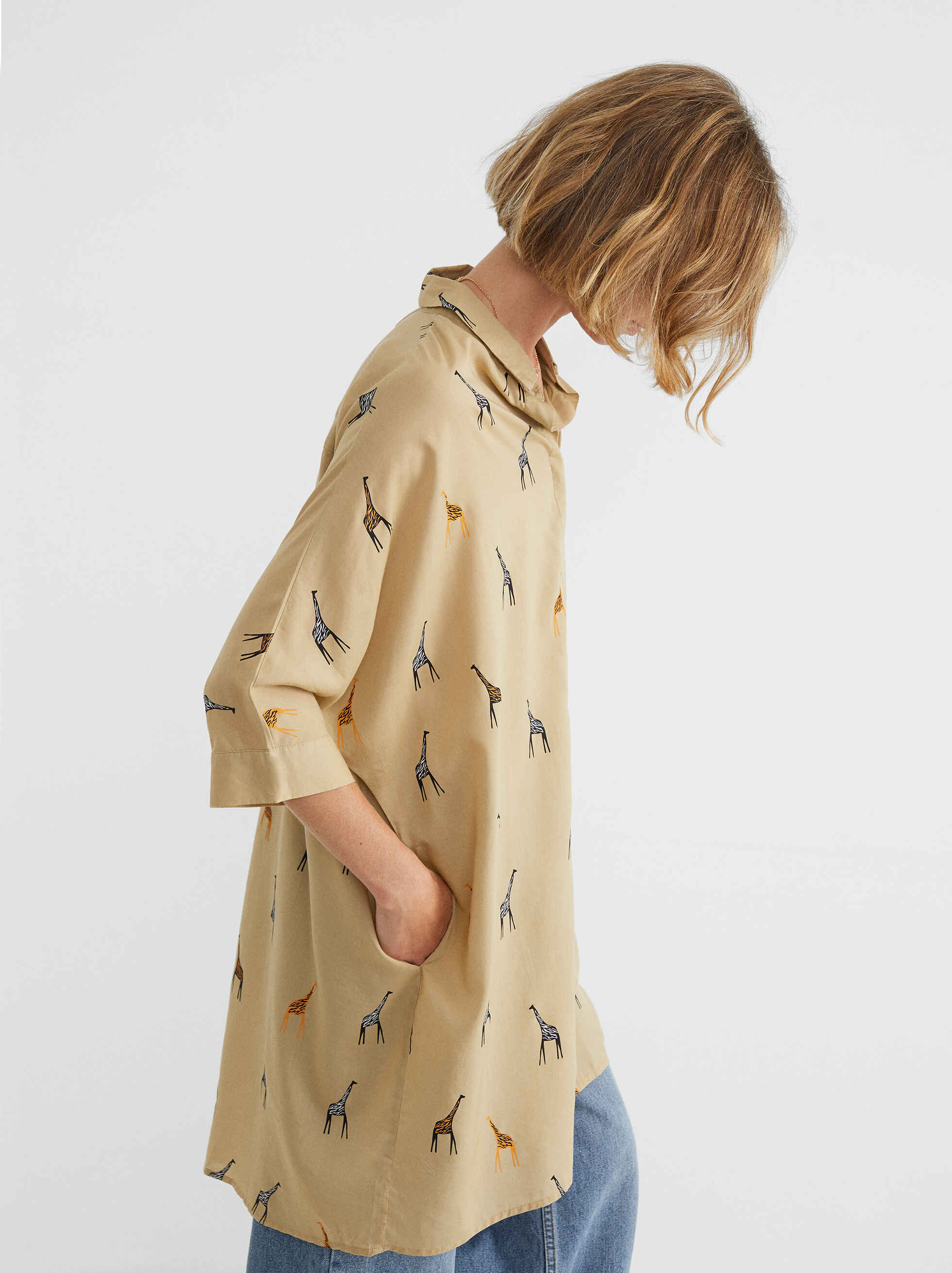 Oversize Dress With Giraffe Print, Beige, hi-res
