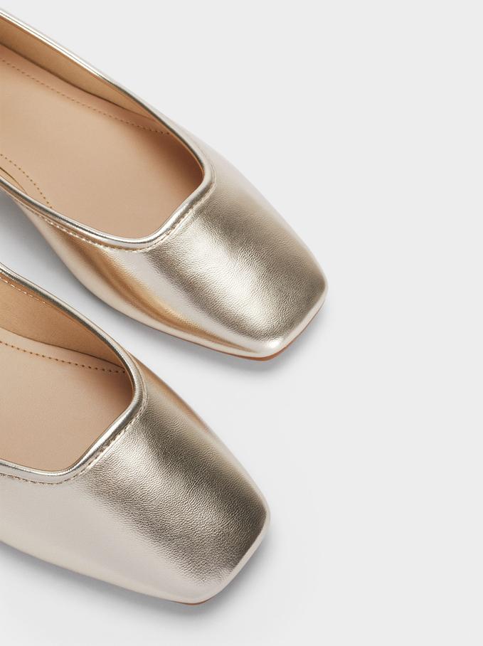 Square Toe Ballerinas, Golden, hi-res
