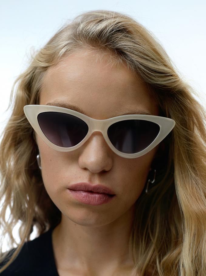 Cat Eye Sunglasses, Beige, hi-res